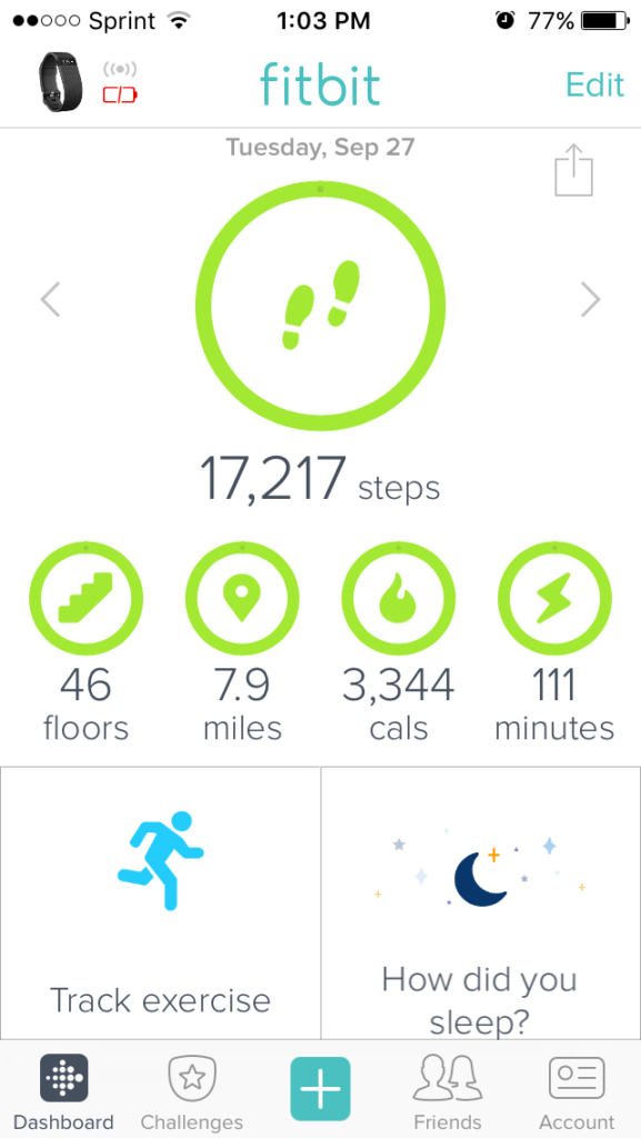 fitbit main screen